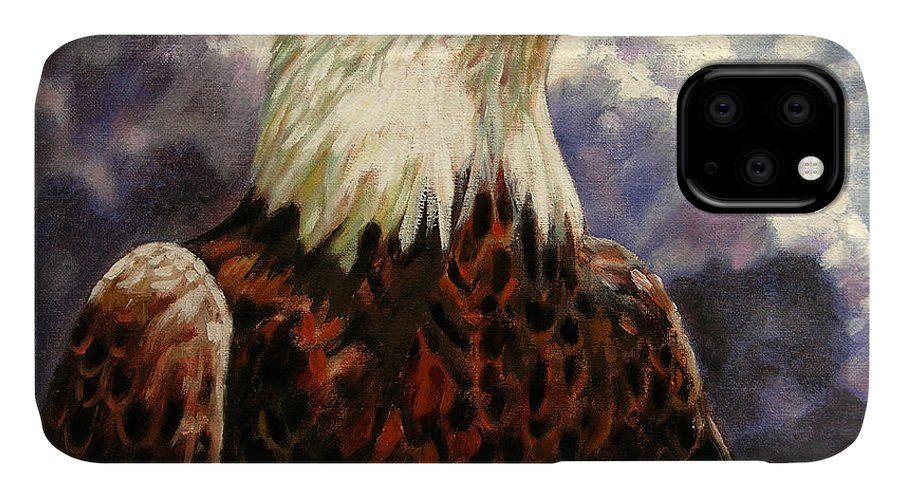 American Bald Eagle IPhone Case featuring the painting God Bless America by John Lautermilch