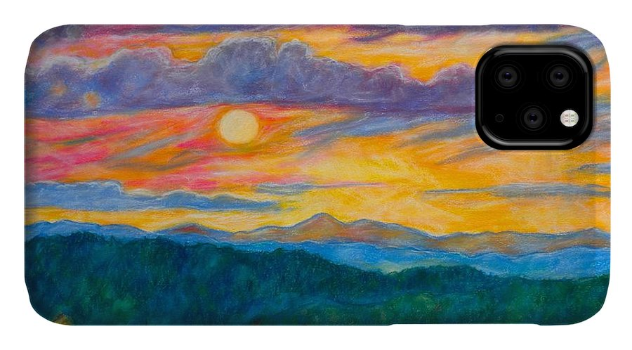 Landscape IPhone Case featuring the painting Golden Blue Ridge Sunset by Kendall Kessler