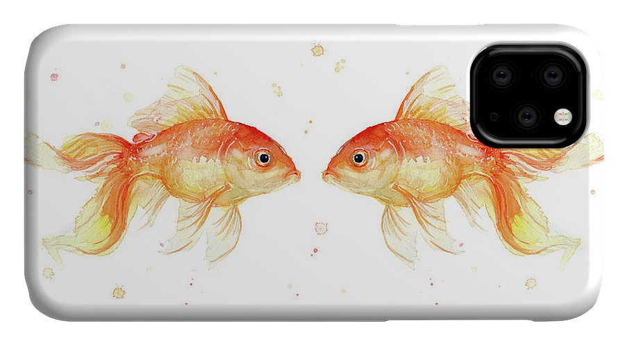 Gold IPhone Case featuring the painting Goldfish Love Watercolor by Olga Shvartsur