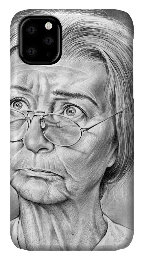 Irene Ryan IPhone 11 Case featuring the drawing Granny by Greg Joens