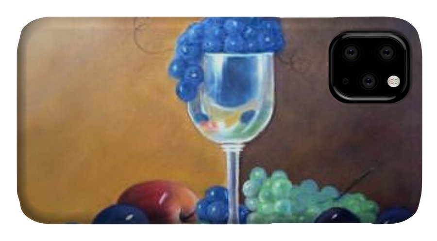 Wine Galsses With Grapes IPhone Case featuring the painting Grapes And Plums by Susan Dehlinger