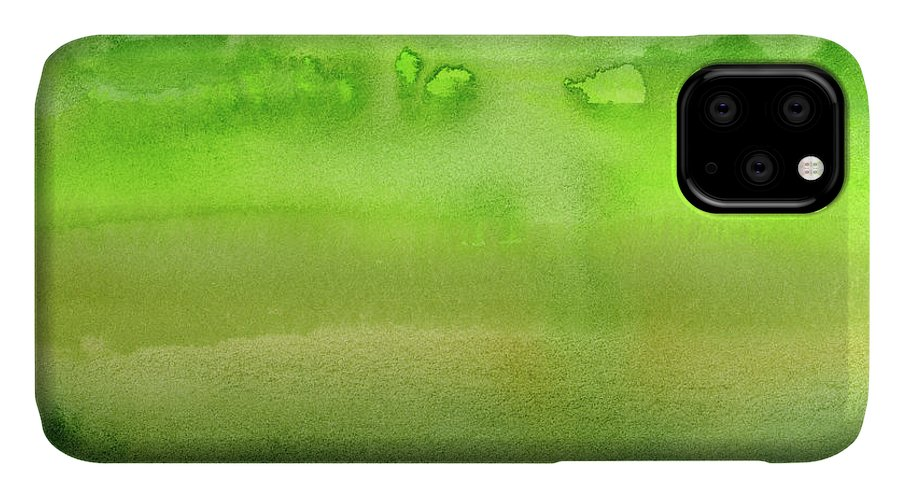 Green IPhone Case featuring the painting Grass Green Abstract Watercolor by Olga Shvartsur