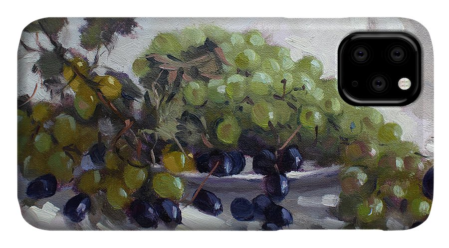 Greek Grapes IPhone 11 Case featuring the painting Greek Grapes by Ylli Haruni