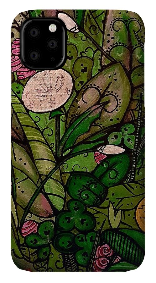 Grass Leaves Floral Mandala Paisley IPhone 11 Case featuring the painting Green by Carole Hutchison