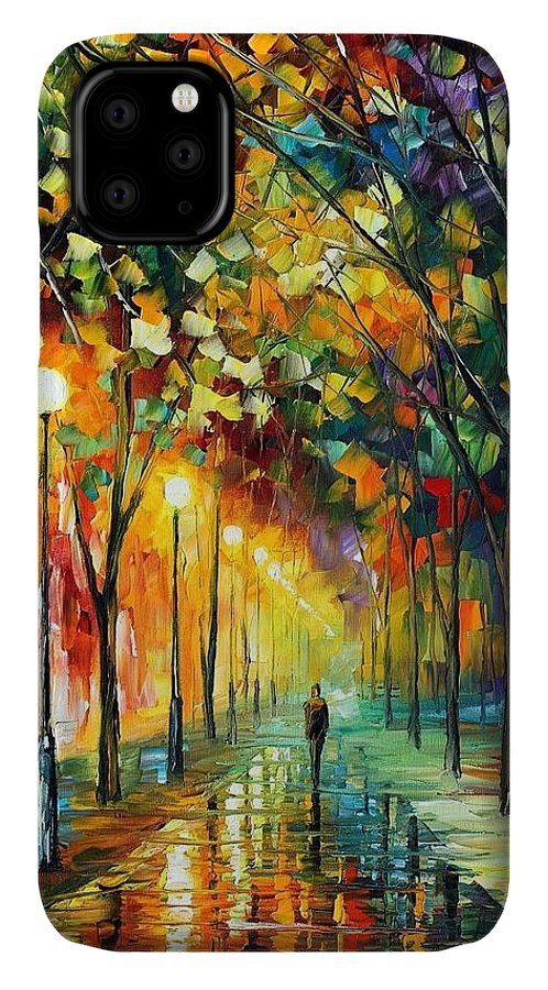 Afremov IPhone 11 Case featuring the painting Green Dreams by Leonid Afremov