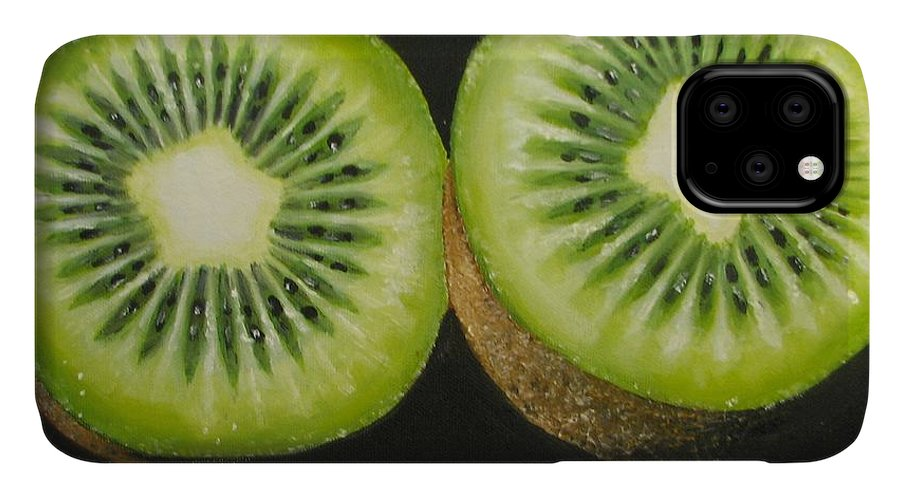 Abstract IPhone Case featuring the painting Green kiwi oil painting by Natalja Picugina