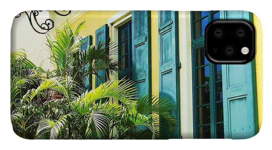 Architecture IPhone Case featuring the photograph Green Shutters by Debbi Granruth