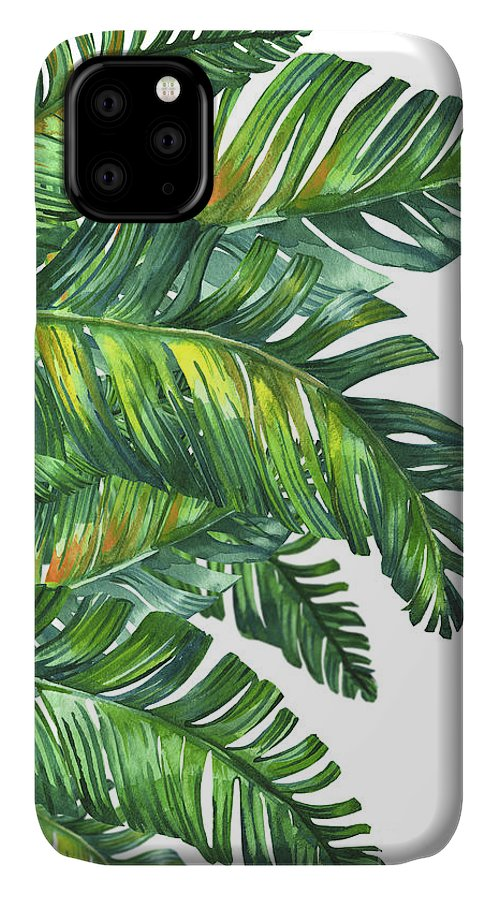 Summer IPhone Case featuring the digital art Green Tropic by Mark Ashkenazi