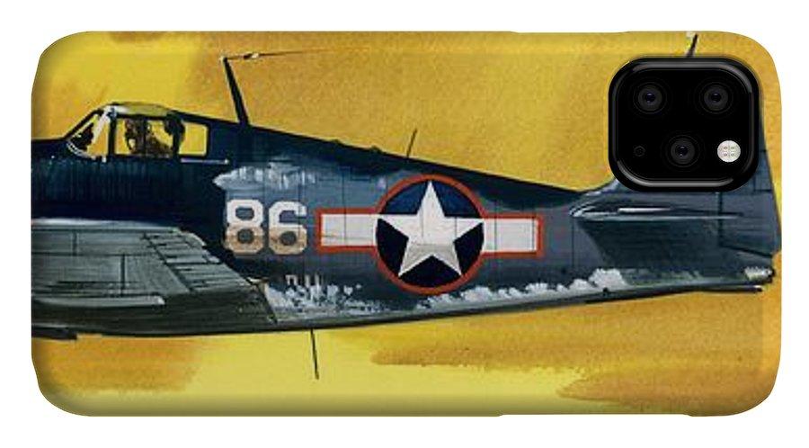 Aircraft; Aeroplane; Plane; Flying; Grumman F4rf-3 Wildcat; Grumman F6f-3 Hellcat; Chance Vought F4u-1a Corsair IPhone Case featuring the painting Grumman F6f-3 Hellcat by Wilf Hardy