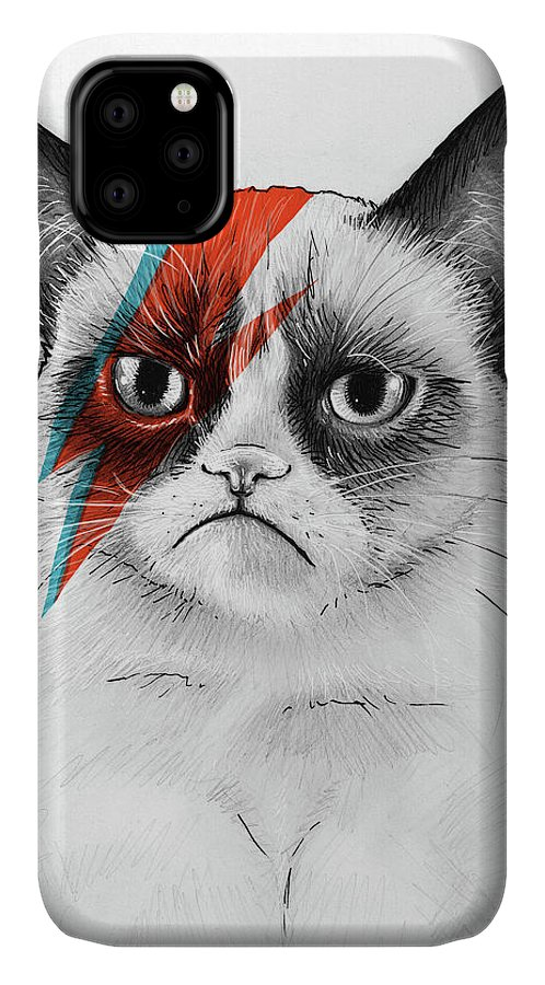 Grumpy Cat IPhone Case featuring the drawing Grumpy Cat as David Bowie by Olga Shvartsur