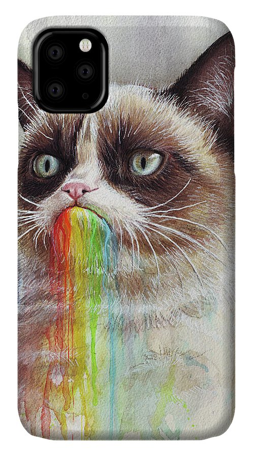 Grumpy Cat IPhone Case featuring the painting Grumpy Cat Tastes The Rainbow by Olga Shvartsur