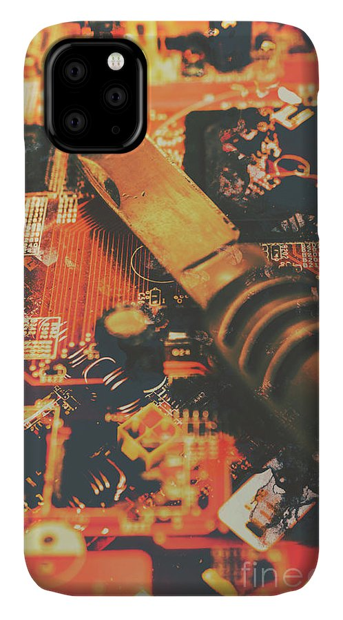 Hack IPhone 11 Case featuring the photograph Hacking Knife On Circuit Board by Jorgo Photography - Wall Art Gallery