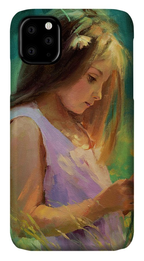 Girl IPhone 11 Case featuring the painting Hailey by Steve Henderson
