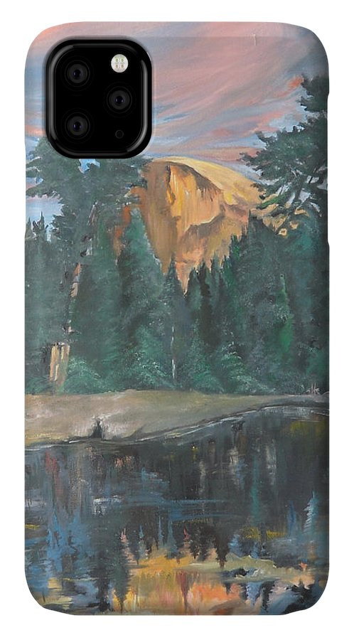 Sunset IPhone Case featuring the painting Half Dome Sunset by Travis Day