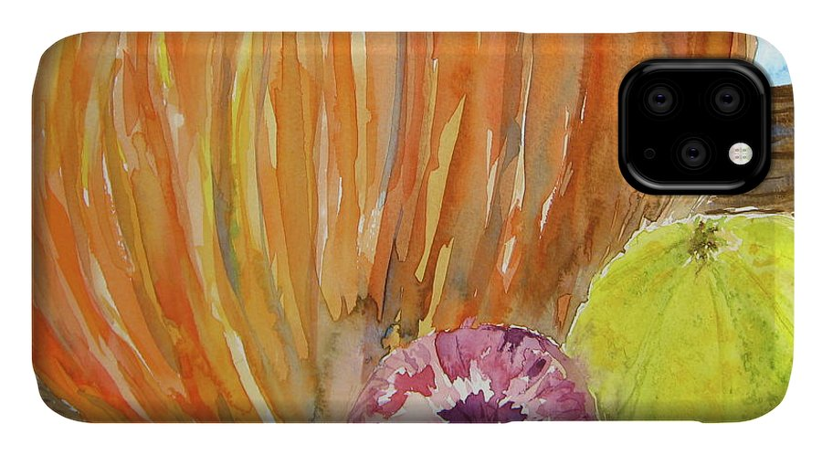Pumpkin IPhone Case featuring the painting Harvest Still Life by Beverley Harper Tinsley