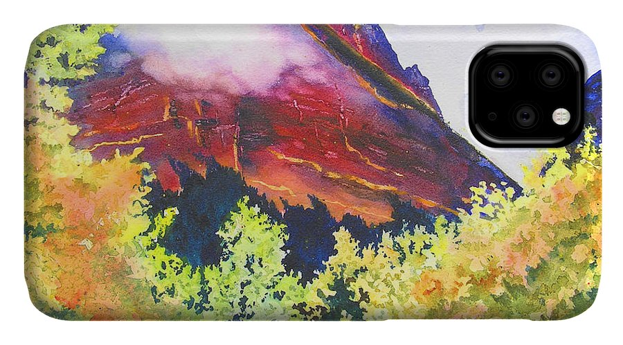 Mountain IPhone Case featuring the painting Heights of Glacier Park by Karen Stark
