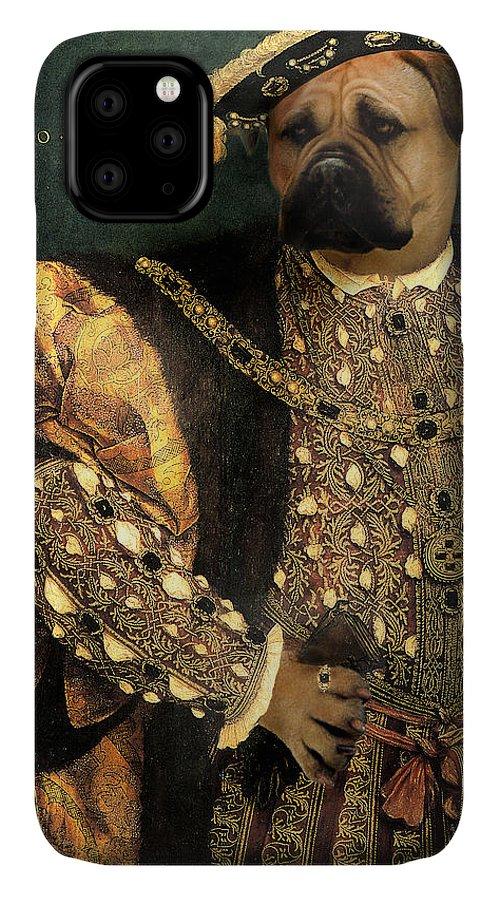 Mastiff IPhone Case featuring the digital art Henry VIII as a Mastiff by Galen Hazelhofer