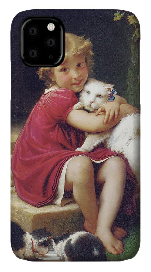 Girl IPhone Case featuring the painting Her Favorite Pet by Leon Bazile Perrault