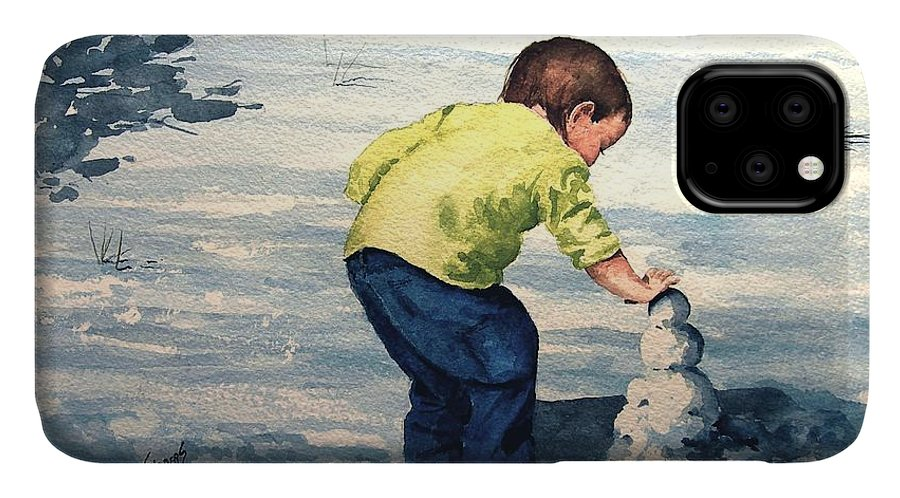 Child IPhone Case featuring the painting High Country Snow Girl by Sam Sidders