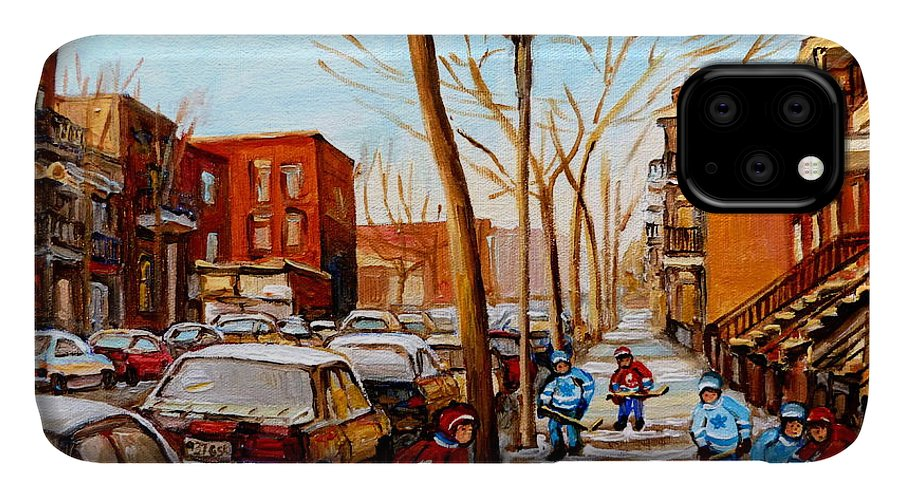 Hockey IPhone Case featuring the painting Hockey On St Urbain Street by Carole Spandau