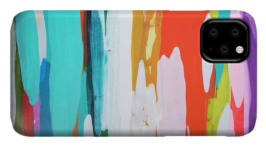 Abstract IPhone 11 Case featuring the painting Holiday Everyday by Claire Desjardins