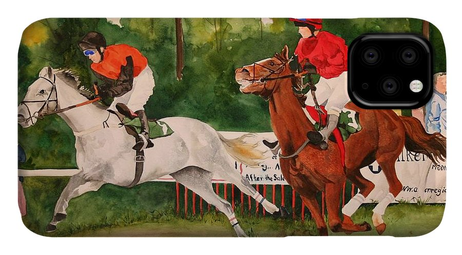 Racing IPhone Case featuring the painting Homestretch by Jean Blackmer