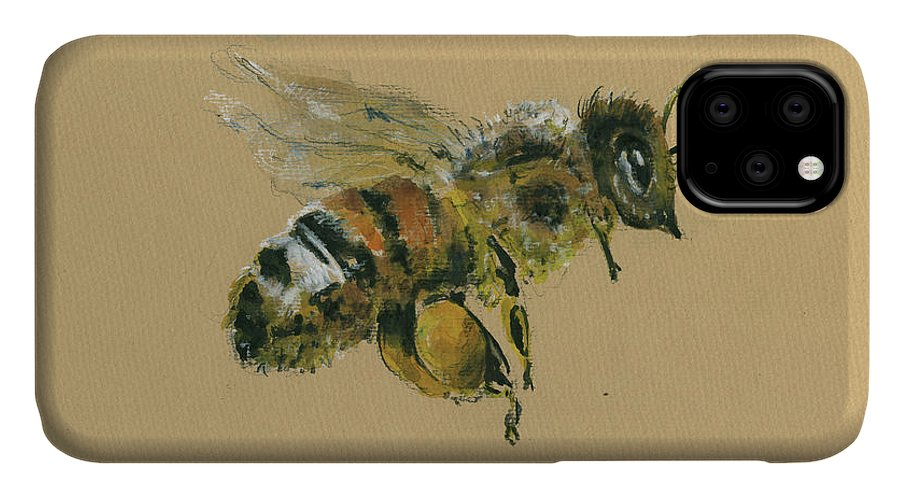 Honey Bee Art IPhone Case featuring the painting Honey bee by Juan Bosco