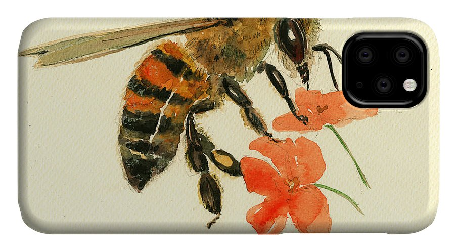 Honey Bee Art IPhone Case featuring the painting Honey bee watercolor painting by Juan Bosco