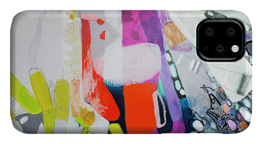 Abstract IPhone 11 Case featuring the painting How Many Fingers? by Claire Desjardins