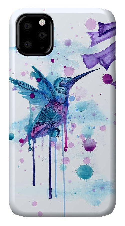 Hummingbird IPhone Case featuring the drawing Hummingbird Skeleton 2.0 by Ludwig Van Bacon