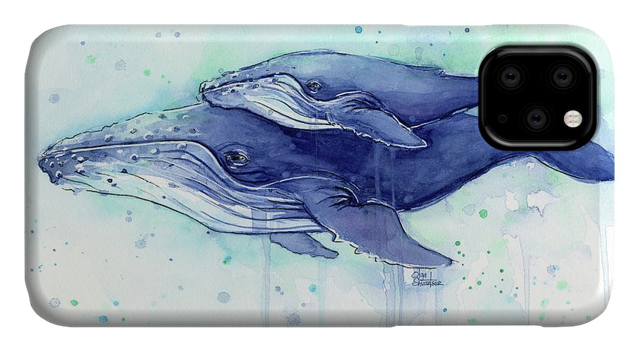 Whale IPhone 11 Case featuring the painting Humpback Whale Mom And Baby Watercolor by Olga Shvartsur