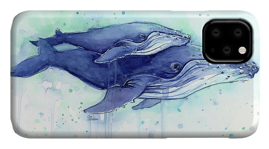 Whale IPhone 11 Case featuring the painting Humpback Whales Mom And Baby Watercolor Painting - Facing Right by Olga Shvartsur