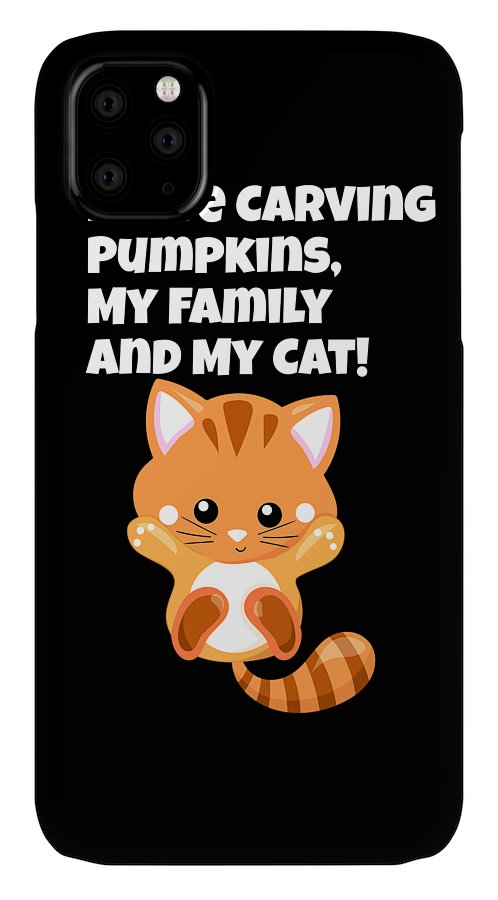 Cat IPhone Case featuring the digital art I love Carving Pumpkins My Family and my Cat3 by Kaylin Watchorn