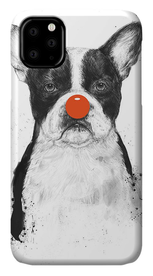 Dog IPhone Case featuring the mixed media I'm Not Your Clown by Balazs Solti