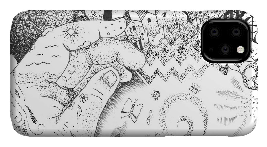 Oneness IPhone 11 Case featuring the drawing In The Name Of One by Helena Tiainen