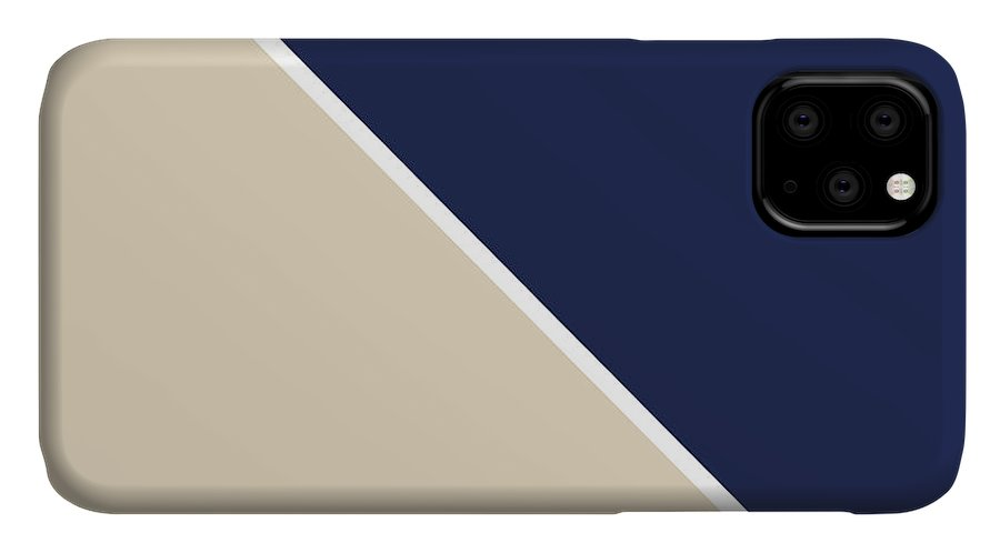 Blue IPhone Case featuring the digital art Indigo and Sand Geometric by Linda Woods