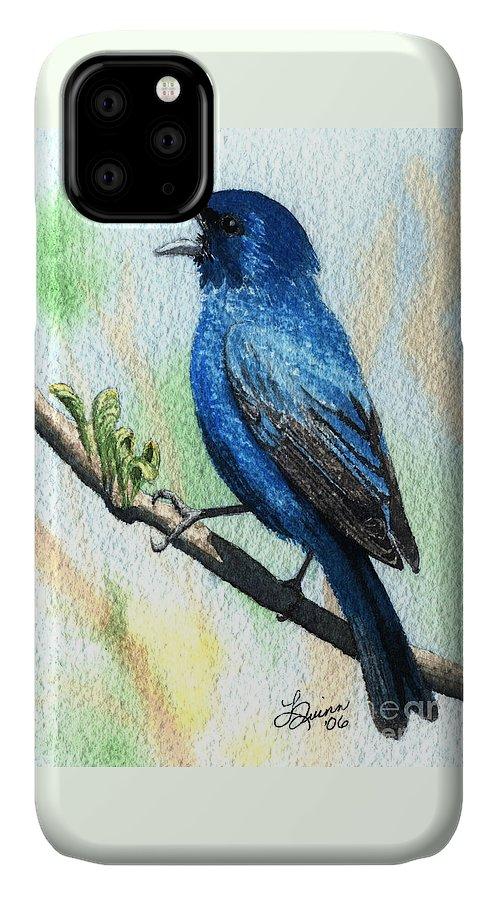 Bird IPhone Case featuring the painting Indigo Bunting by Lynn Quinn