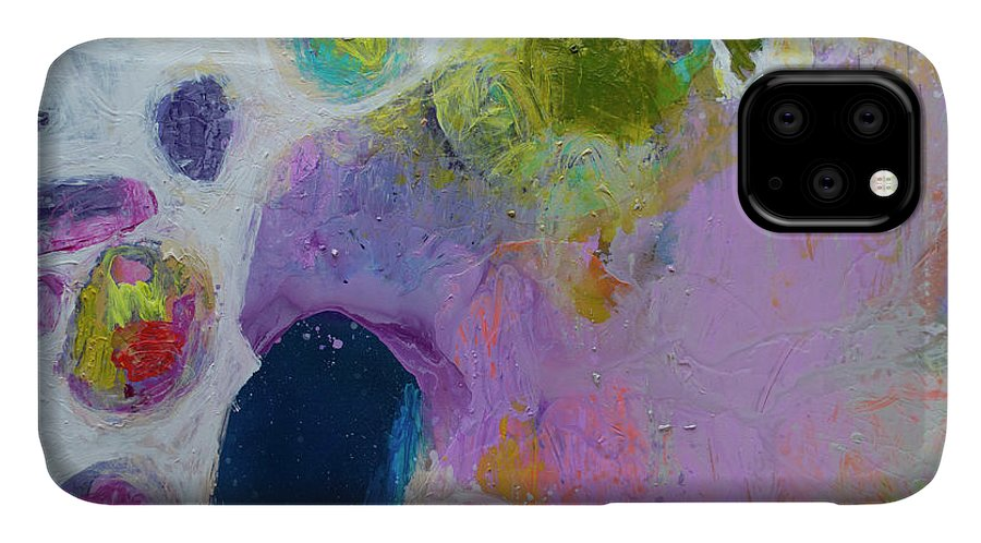 Abstract IPhone 11 Case featuring the painting Inherent by Claire Desjardins