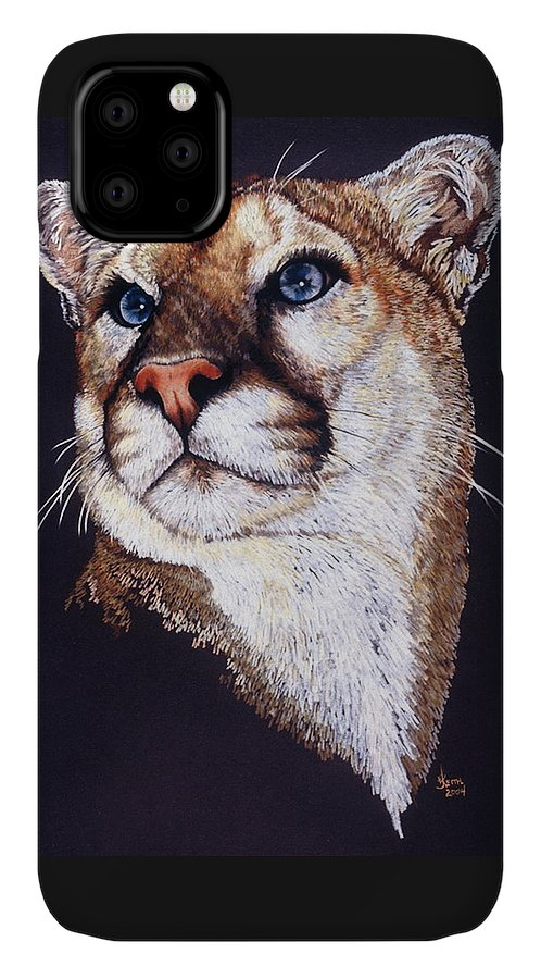 Cougar IPhone Case featuring the drawing Intense by Barbara Keith