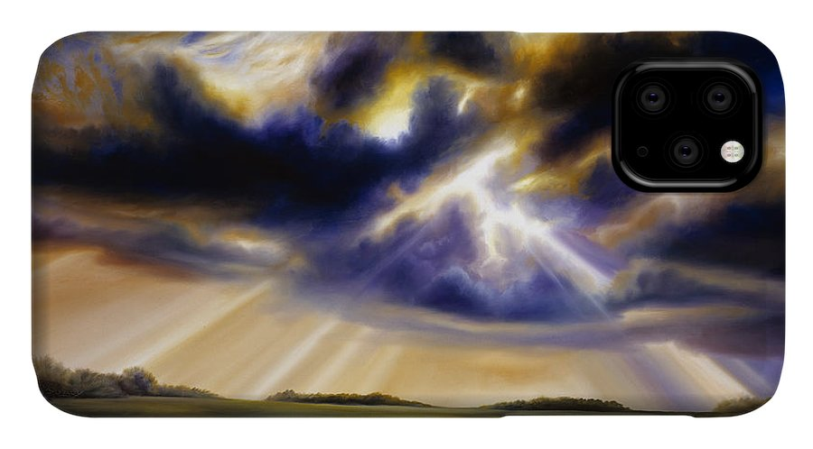 Sunrise; Sunset; Power; Glory; Cloudscape; Skyscape; Purple; Red; Blue; Stunning; Landscape; James C. Hill; James Christopher Hill; Jameshillgallery.com; Ocean; Lakes; Storms; Lightning; Rain; Rays; God IPhone Case featuring the painting Iowa Storms by James Christopher Hill