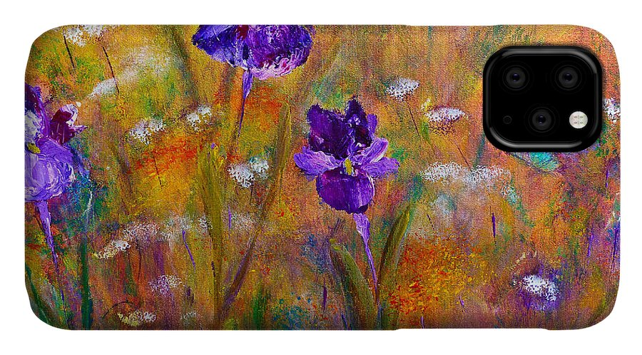 Floral Art IPhone 11 Case featuring the painting Iris Wildflowers And Butterfly by Claire Bull
