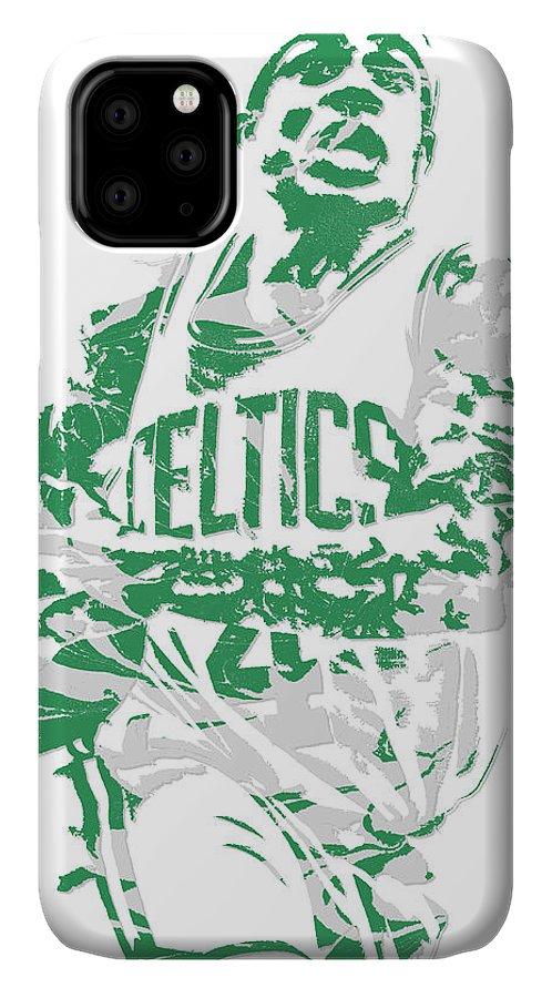 Isaiah Thomas IPhone Case featuring the mixed media Isaiah Thomas Boston Celtics Pixel Art 15 by Joe Hamilton