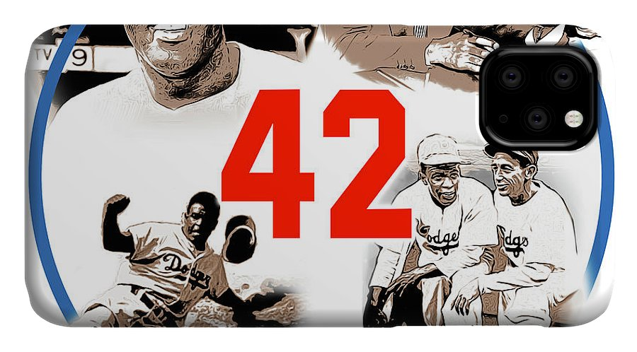 Jackie Robinson IPhone Case featuring the digital art Jackie 42 by Greg Joens
