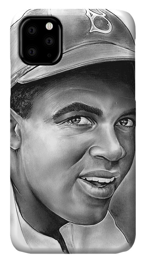 Jackie Robinson IPhone Case featuring the drawing Jackie Robinson by Greg Joens