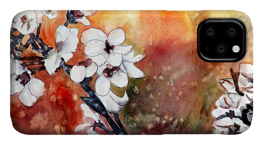 Watercolor IPhone Case featuring the painting Japanese cherry blossom abstract flowers by Derek Mccrea