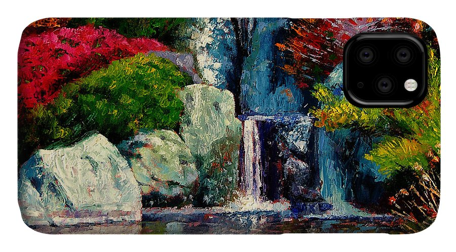 Japanese Garden IPhone Case featuring the painting Japanese Waterfall by John Lautermilch