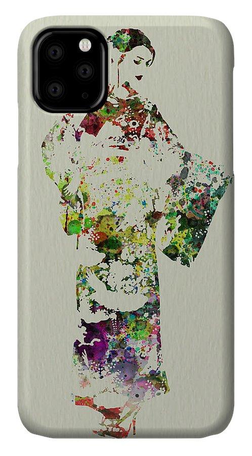 Kimono IPhone 11 Case featuring the painting Japanese Woman In Kimono by Naxart Studio