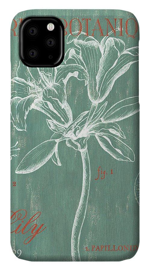 Floral IPhone Case featuring the drawing Jardin Botanique Aqua by Debbie DeWitt