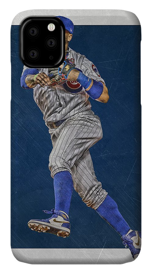Javier Baez IPhone Case featuring the mixed media Javier Baez Chicago Cubs Art by Joe Hamilton