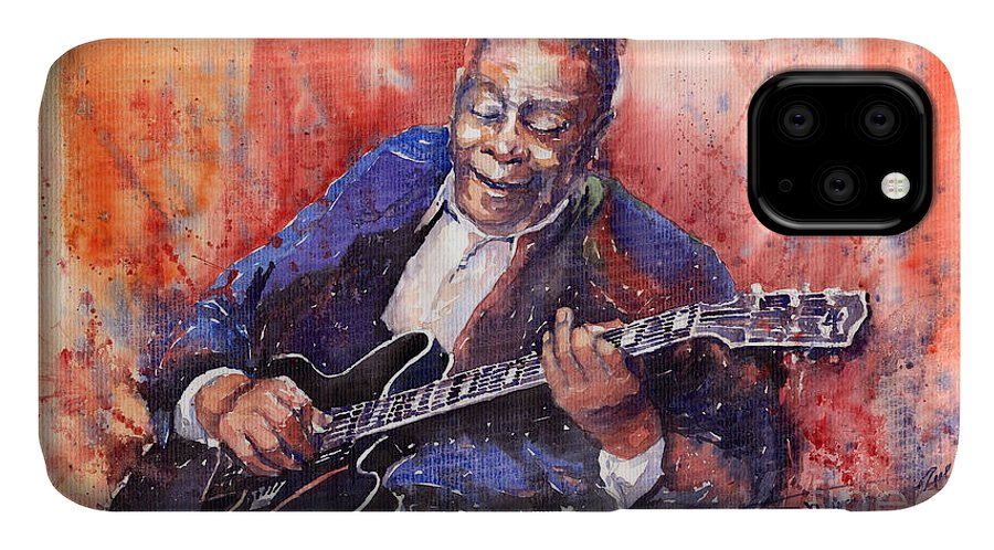 Jazz IPhone 11 Case featuring the painting Jazz B B King 06 A by Yuriy Shevchuk